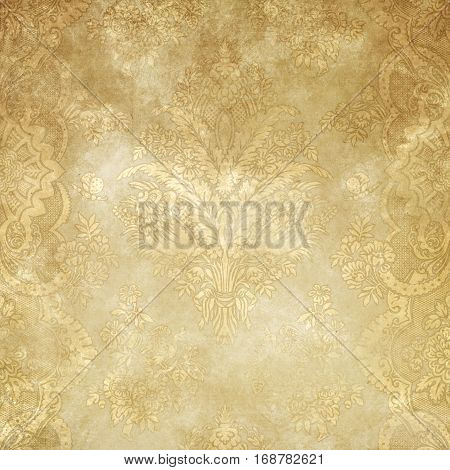 old yellowed paper background with decorative vintage patterns for the design. Vintage paper texture.