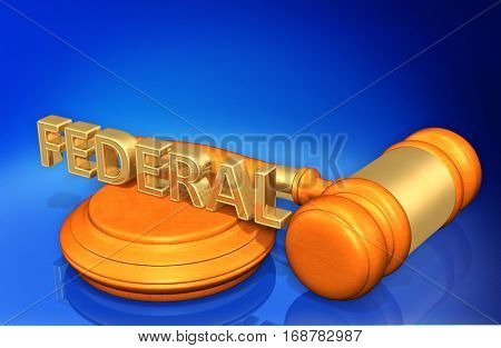 Federal Legal Gavel Concept 3D Illustration