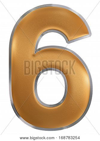 Numeral 6, Six, Isolated On White Background, 3D Render
