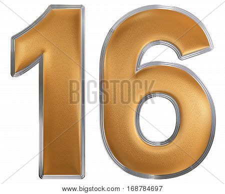 Numeral 16, Sixteen, Isolated On White Background, 3D Render