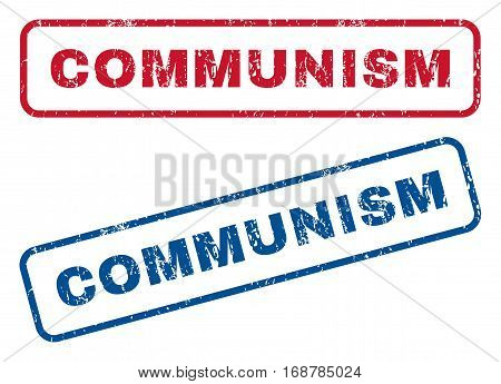 Communism text rubber seal stamp watermarks. Vector style is blue and red ink caption inside rounded rectangular banner. Grunge design and dust texture. Blue and red stickers.