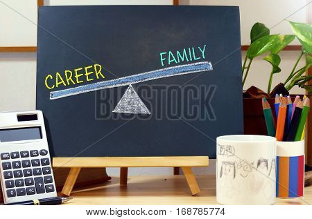 balance between career and family - text on the blackboard,