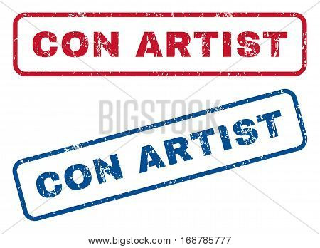 Con Artist text rubber seal stamp watermarks. Vector style is blue and red ink caption inside rounded rectangular shape. Grunge design and unclean texture. Blue and red signs.