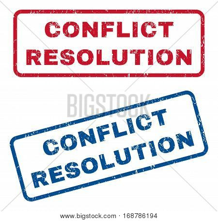 Conflict Resolution text rubber seal stamp watermarks. Vector style is blue and red ink tag inside rounded rectangular banner. Grunge design and dirty texture. Blue and red stickers.