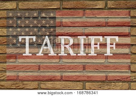 tariff word on the America Flag on the wall