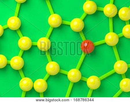 Abstract network of balls with red one unique concept 3d illustration.