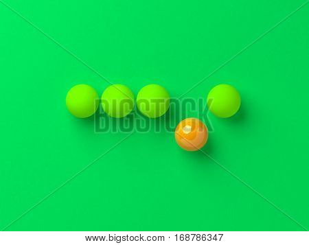 Unique single orange ball among the green balls concept 3d illustration.