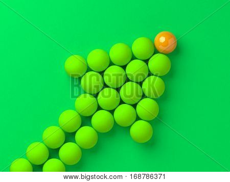 Arrow of the balls with the leader in front business or sports leadership concept 3d illustration.