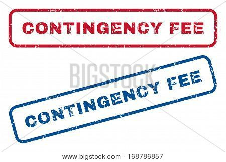 Contingency Fee text rubber seal stamp watermarks. Vector style is blue and red ink tag inside rounded rectangular banner. Grunge design and dust texture. Blue and red emblems.