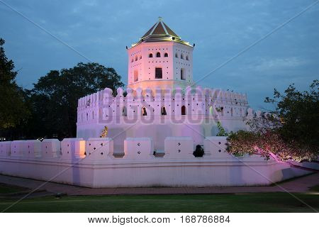 The fortress Pkhra Sumen fort in evening violet illumination. Bangkok, Thailand