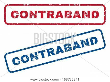 Contraband text rubber seal stamp watermarks. Vector style is blue and red ink tag inside rounded rectangular banner. Grunge design and scratched texture. Blue and red signs.