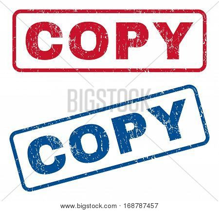 Copy text rubber seal stamp watermarks. Vector style is blue and red ink tag inside rounded rectangular shape. Grunge design and dirty texture. Blue and red stickers.