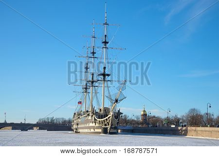 SAINT PETERSBURG, RUSSIA - JANUARY 20, 2017: Frigate