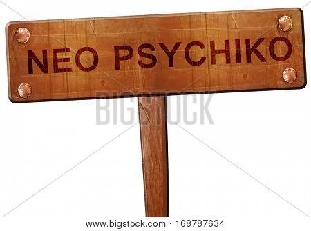 Neo psychiko road sign, 3D rendering
