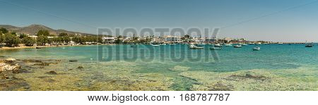 Alyki beach panorama at Paros island in Greece.