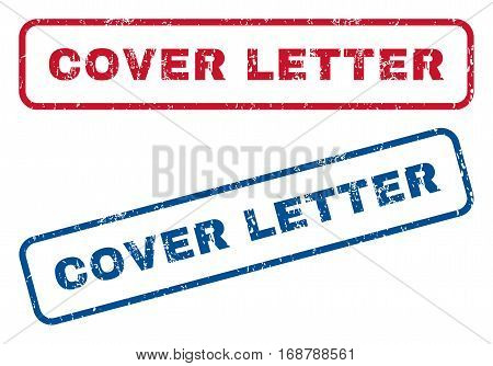 Cover Letter text rubber seal stamp watermarks. Vector style is blue and red ink tag inside rounded rectangular shape. Grunge design and dust texture. Blue and red emblems.