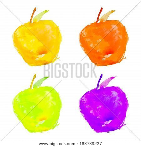 four watercolor apples on a white background isolated