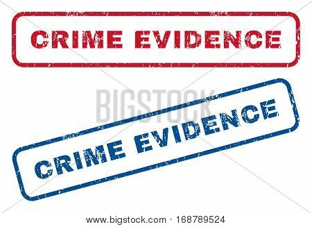 Crime Evidence text rubber seal stamp watermarks. Vector style is blue and red ink tag inside rounded rectangular banner. Grunge design and dirty texture. Blue and red emblems.