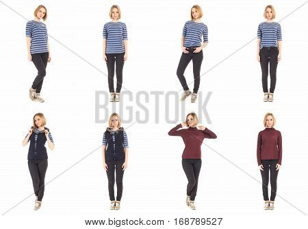 Young Sexy Blond Woman In Black Jeans Concept