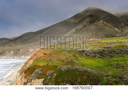 Foggy Coastline of the Pacific Ocean at Soberanes Point.