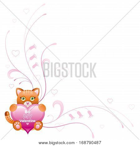 Happy Valentines day border. Be my valentine, text lettering. Toy cat isolated frame, white background. Heart romance, cute romantic dating vector illustration. Holiday corner design. Flat cartoon