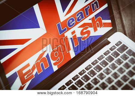 learning english online concept. E-learning on laptop