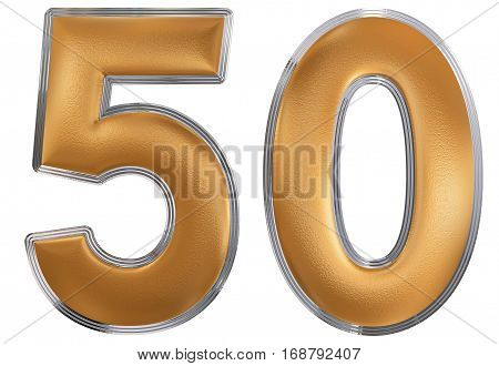 Numeral 50, Fifty, Isolated On White Background, 3D Render