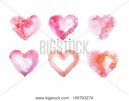 Watercolor heart hand drawn illustration aquarelle painting.