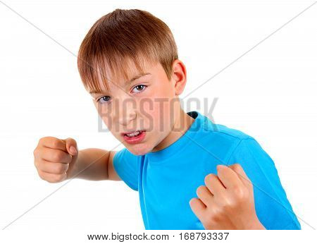 Kid in Boxer Pose Isolated on the White Background