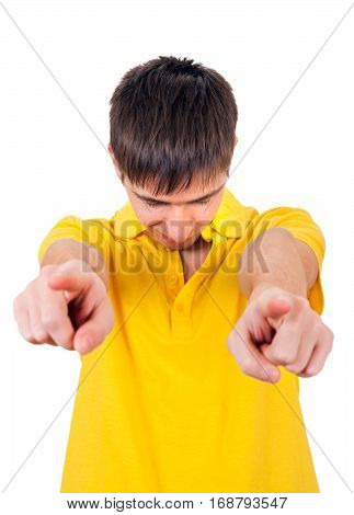 Sad Young Man pointing at You Isolated on the White Background