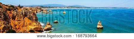 Algarve coastline in Portugal. Rocks and Sea in Lagos, Algrave, Portugal