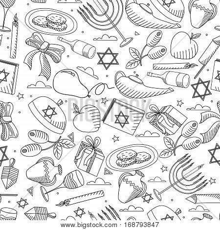 Hanukkah line art design vector illustration seamless coloring book. Separate objects. Hand drawn doodle design elements.
