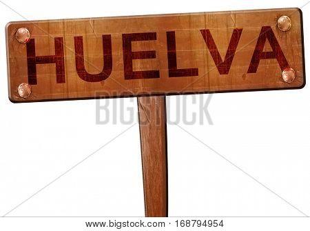 Huelva road sign, 3D rendering