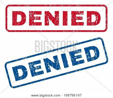Denied text rubber seal stamp watermarks. Vector style is blue and red ink tag inside rounded rectangular shape. Grunge design and dirty texture. Blue and red emblems.