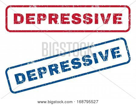Depressive text rubber seal stamp watermarks. Vector style is blue and red ink tag inside rounded rectangular banner. Grunge design and dust texture. Blue and red emblems.