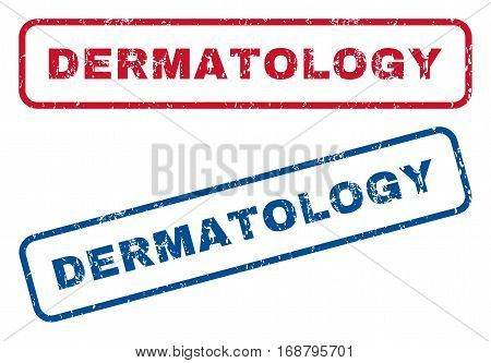 Dermatology text rubber seal stamp watermarks. Vector style is blue and red ink tag inside rounded rectangular banner. Grunge design and scratched texture. Blue and red signs.
