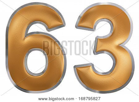 Numeral 63, Sixty Three, Isolated On White Background, 3D Render