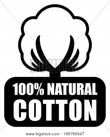 Cotton label or sign, symbol on white background