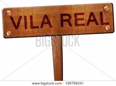 Vila real road sign, 3D rendering