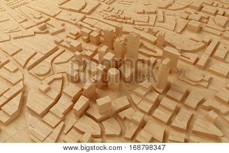 wood low poly city views from above. 3d rendering