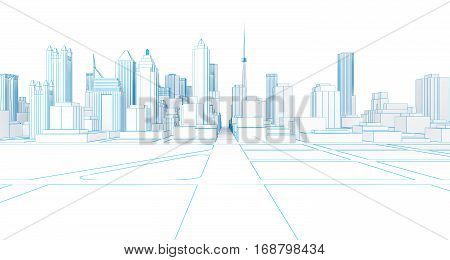 low poly wireframe white city. 3d rendering