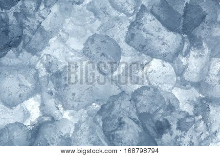 Beautiful blue ice block in winter time