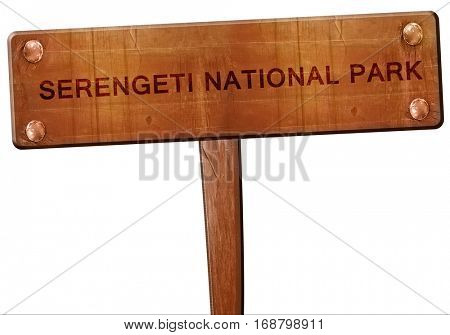 Serengeti national park road sign, 3D rendering