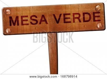 Mesa verde road sign, 3D rendering