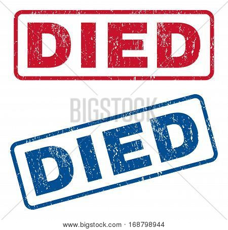 Died text rubber seal stamp watermarks. Vector style is blue and red ink tag inside rounded rectangular banner. Grunge design and dust texture. Blue and red signs.