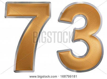 Numeral 73, Seventy Three, Isolated On White Background, 3D Render