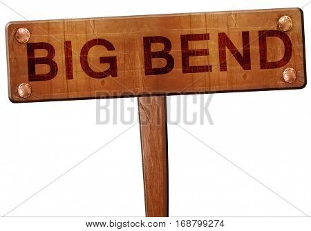 Big bend road sign, 3D rendering