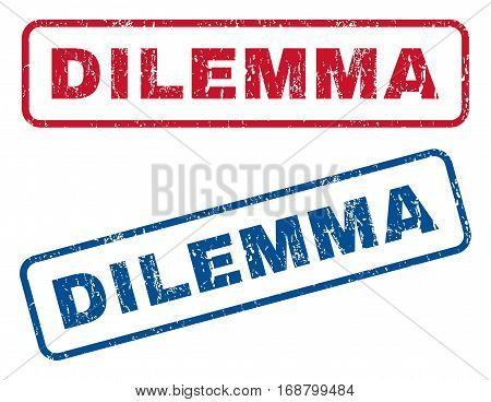 Dilemma text rubber seal stamp watermarks. Vector style is blue and red ink caption inside rounded rectangular banner. Grunge design and scratched texture. Blue and red emblems.