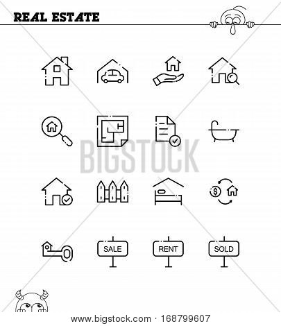 Real estate flat icon set. Collection of high quality outline symbols for web design, mobile app. Real estate vector thin line icons or logo.