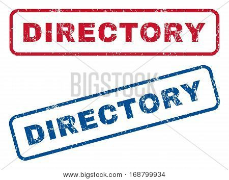 Directory text rubber seal stamp watermarks. Vector style is blue and red ink caption inside rounded rectangular shape. Grunge design and dirty texture. Blue and red stickers.